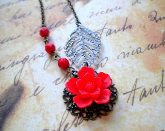 Red Necklace Red Pendant Necklace Leaf Charm Necklace Red Bridesmaid Necklace Red Wedding Jewelry Gifts Red Jewelry Red Flower Necklace