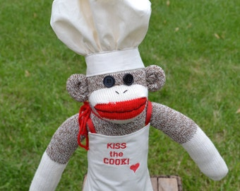 Chef Sock Monkey Doll. Cook, Baker,  Personalization Option