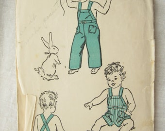 Advance 3269 Boys 1940s Bib Overalls Vintage Sewing Pattern Rare Sewing Pattern Size 3