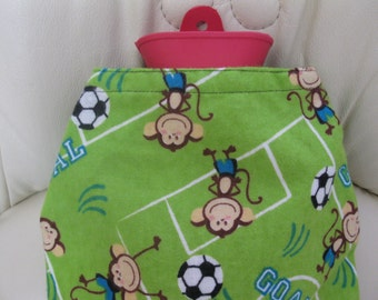 Monkeys play Soccer-Hot Bottle Cover tandard Size