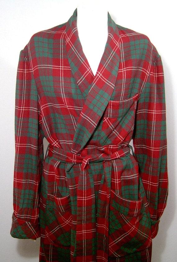 Vintage 1940s 1950s Wool Robe Men Medium Women Large Deep