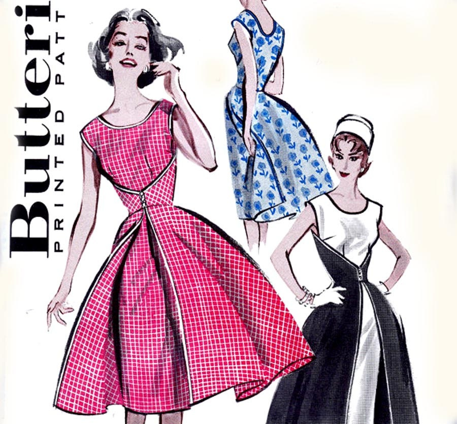 60s Walk Away Dress Pattern Butterick 7500 Vintage Size 16