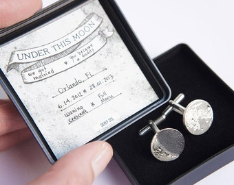 UNDER THIS MOON / Cufflinks - Personalized moon cufflinks in silver, fathers day, dad, boyfriend, wedding anniversary