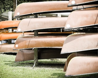 Summertime Photography canoes cabin decor river paddle fun stacked orange tan brown outdoors kids - Summer Camp - fine art photo