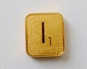 Vintage Gold Scrabble Tile 24K Gold Plated Letter I