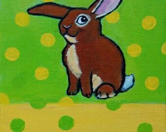 SALE Bunny Rabbit Original Acrylic 5x7 Painting by Sally Amthor