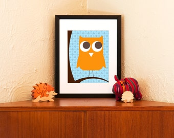 Owl Be Watching You Art Print - Orange & Blue Wall Decor on 100% Recycled Paper (Free Shipping in US)