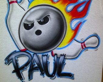 Airbrush Flaming Bowling Ball T-Shirt w/ Your Name size XS S M L XL 2X Airbrushed T Shirt