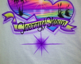 Airbrush Bright Color Ocean Beach Scene Shirt Personalized with Name Airbrushed T-Shirt