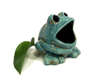 Ceramic Frog Sponge Holder - Teal Blue