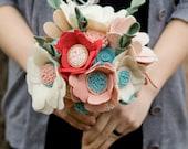 Custom - Wedding Wildflower Felt Bouquet - Alternative Wedding Flowers - Wedding Bouquet - Pink and Blue -