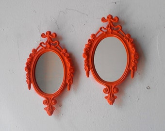 Small Mirror Set in Bright Orange, Boho Chic Wall Decor, Orange Nursery, Retro Kitchen, Mid Century Modern, Vintage Metal Frames