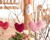 Set of 4 Heart Valentine Ornaments Gifts Valentines Day Decoration Natural Waldorf Rustic Country Home