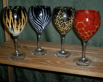 Pair of Wine Glasses Animal Print Hand-painted Leopard Tiger Giraffe Zebra by Lisa Hayward