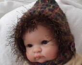 Newborn Boy or Girl....  Brown, Burgandy, Sage & Copper... Pixie Hat....Dark Brown Fur trim....Chin Strap - Photo Prop - READY to SHIP
