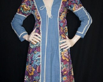 Vintage 1960s Gunne Sax Black Label Denim and Tapestry Floral Maxi Dress
