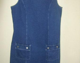 Vintage Dark Blue Denim Jumper Dress