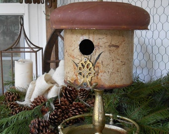 Rustic, upcycled, recycled, industrial Birdhouse, Bird House, primitive