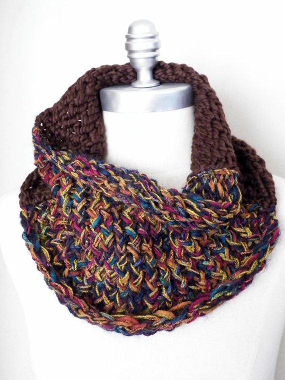 ON SALE Bohemian Knit Cowl, Jewel Tone, Colorful Sparkly Multicolor Knit Amber Gold, Teal, Magenta, Brown Purple Wool Blend