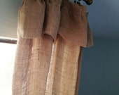 natural washed burlap ruffle curtain drapery panel-to hang with DRAPERY CLIPS