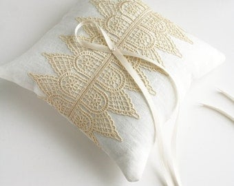 Wedding Ring Pillow, Ring Bearer Pillow, Ring Cushion, Lace Ring Pillow, Ring Pillow