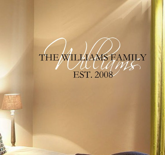 Personalized Family Name with Est. Date Vinyl Wall Decal Lettering