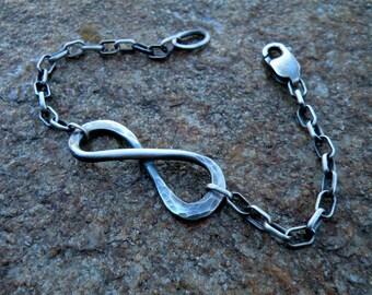 Infinity bracelet, oxidized infinity bracelet, sterling silver