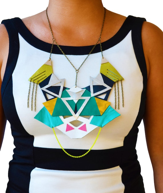Green Emerald Statement Necklace, Geometric Leather Triangles, Tribal Statement Jewelry
