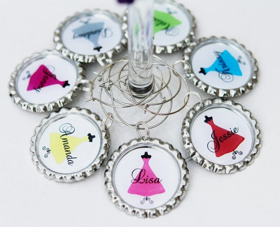 bridesmaid wine glasses charms personalized wedding by