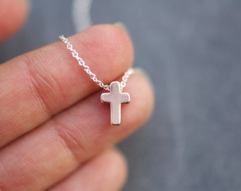 last one!  ROSE GOLD cross charm necklace on delicate silver chain modern everyday minimalism