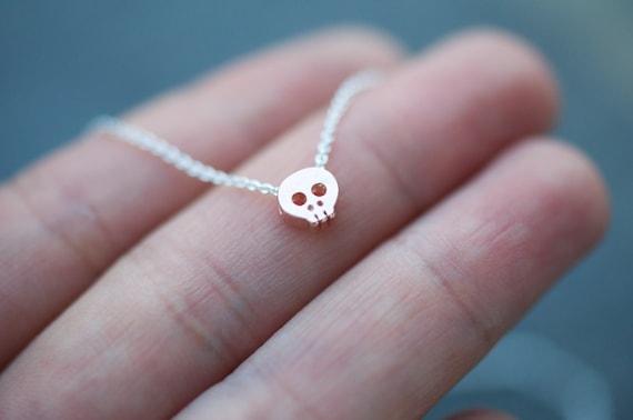 adjustable ROSE GOLD SKULL necklace on silver chain, teeny tiny rose gold skull necklace