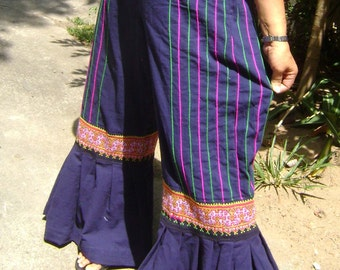 100 percent hemp and cotton wide leg pants in blue for Women