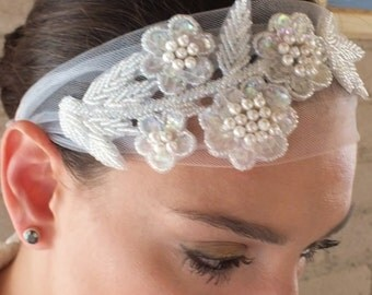 Beaded Bridal Head Piece Wedding Veil Alternative Fascinator