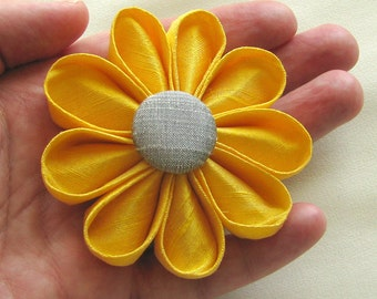 Yellow Silk Kanzashi Flower Pin with Grey Button, Wedding Fashion Accessory, Boutonniere
