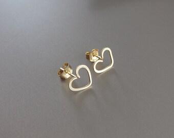 Gold Heart Earrings, Rose Gold Heart Studs, Gold Heart Post Earrings, 14K Gold Stud Earrings, Valentine's Day Gift, Heart Earrings