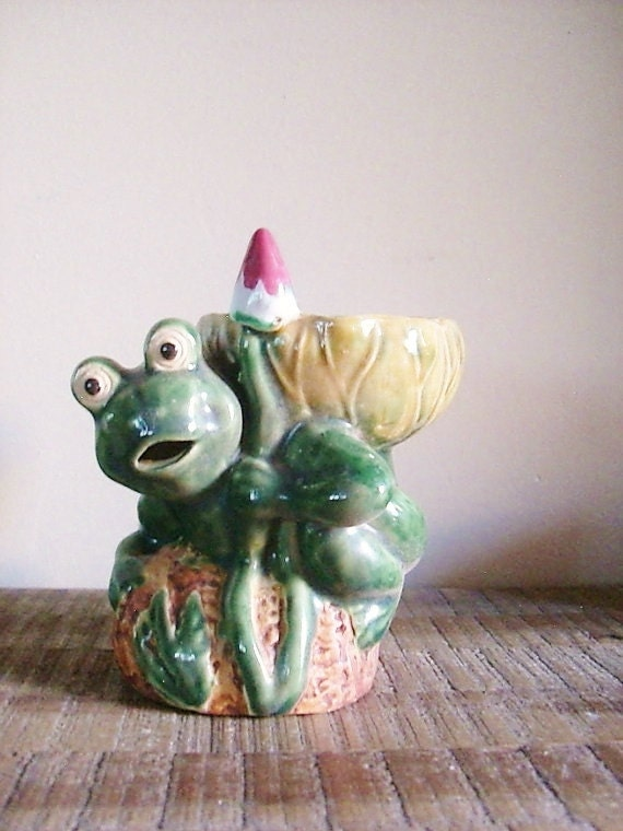 Vintage Ceramic Frog Bowl or Planter