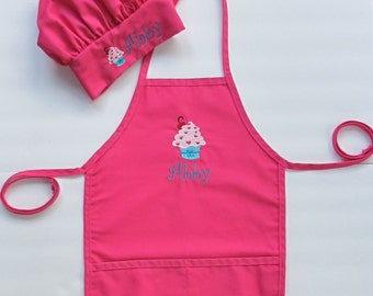 Kid's Apron AND Chef Hat - Childs Art Apron and Hat - Childrens Personalized Craft Apron and Chef Hat - Cupcake