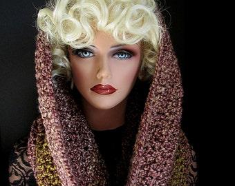 Infinity Scarf, Mauve Cowl, Hood, Rose Neckwarmer, Green, Womens Scarf, Crochet, Mens, Oversize Cowl, Winter Accessories, Winter Fashion