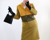 Vintage 1960s Olive Green Ochre  Wool Knit Suit Jacket Skirt. Mod. Mad Men Fashion - gogovintage