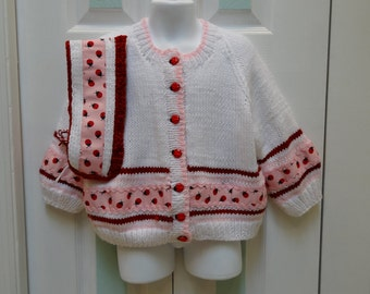 KNITTED SWEATER SET: Toddler's,size 3 to 4, Sweater & hat, boutique style, white cardigan and headband, hand knittedin a  lady bug motif.