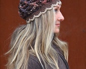 reserved. Custom order. Winter beanie BROWN earthy BOHEMIAN Beanie SCALLOPED hat Cotton Acrylic yarn Beanie hand crochet hat GPyoga