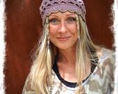 LILAC hat BEANIE Gray Purple Cotton Beanie hat Fairy Hippie crochet Beanie BOHEMIAN hat Summer Beanie urban chic Scalloped cute womens hats