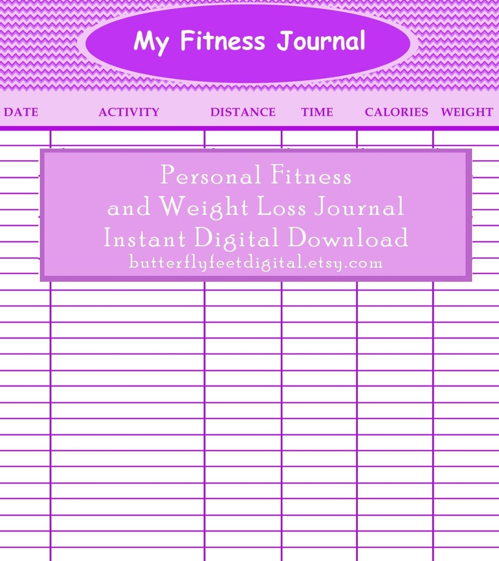 Poster Weights Etsy: Printable Fitness Journal Weight Loss Chart Exercise Log