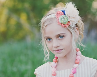 Happily Feather After-  ivory, charteuse, cobalt & coral rosette, silk flower lace and feather headband