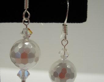 Pearl Earring, Pearl & Crystal Earring, Shell Pearl Earring, Bride, Wedding, Pearl Dangle, Swarovski Crystal, Sterling Silver, Pearl Set