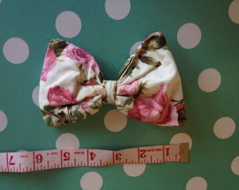 Hand made hair bow, shabby chic floral vintage, bow, tulle stuffed, large, Rockabilly