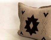 Decorative bold geometric linen pillow