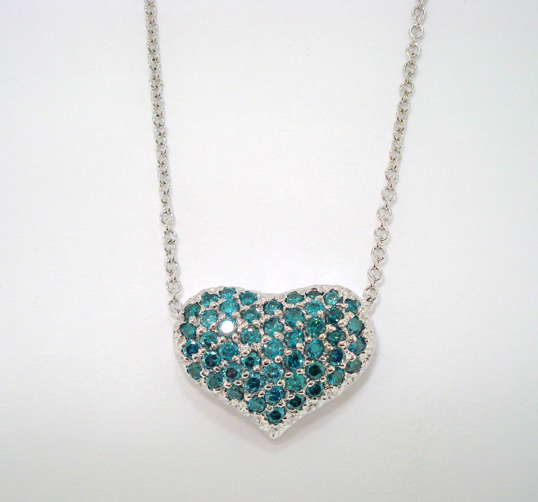 Platinum Blue Diamond Heart Love Pendant Necklace Pave Set