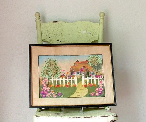 RESERVED Vintage Hollyhock Cottage Embroidered Picture Felt Flowers White Picket Fence Cottage Garden Shabby Decor