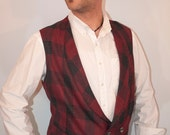 Mens red and charcoal grey wool vest made to order